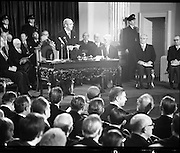 Inaugeration of Cearbhall O'Dalaigh as President  (H77).1974..19.12.1974..12.19.1974..19th December 1974..Following the sudden death of President Erskine Childers, Mr Cearbhall O'Dalaigh was nominated by The Fianna Fail party as its candidate to replace him. The Fine Gael /Labour coalition government did not oppose the nomination and Mr O'Dalaigh was elected un-opposed on a joint party agreement...From the podium President Cearbhall O'Dalaigh is pictured as he reads his inaugeration speech to the assembled invited audience.