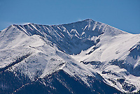 Snow covered peak of 14,269 ft. Mount Antero of the Sawatch Range.  Colorado.
