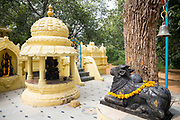 THIMMAMMA MARRIMANU, INDIA - 25th October 2019 - Statue of Nandi (Nandin) the gate-guardian / gatekeeper deity of an abode for Lord Shiva, Thimmamma Marrimanu banyan tree (the world's largest single tree canopy), Andhra Pradesh, India. <br />