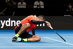 January 7, 2019 - Sydney, NSW, U.S. - SYDNEY, AUSTRALIA - JANUARY 07: Nick Kyrgios (AUS) falls at The Sydney FAST4 Tennis Showdown on January 07, 2018, at Qudos Bank Arena in Homebush, Australia. (Photo by Speed Media/Icon Sportswire) (Credit Image: © Steven Markham/Icon SMI via ZUMA Press)