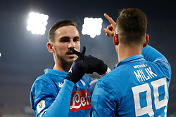 January 13, 2019 - Naples, Campania, Italy - Naples - Italy, 29 jannuary 2019 stadium San Paolo Napoli faces US Sassuolo for the Serie A championship.in the picture: the Napoli player Goal Fabian Ruiz  (Credit Image: © Fabio Sasso/Pacific Press via ZUMA Wire)