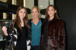 LISA BUTCHER and her daughters, left to right, OLIVIA DONOSO and AMBER DONOSO at the opening of the new Gismondi Jewellery boutique, 14 Albermarle Street, London on 9th October 2014.