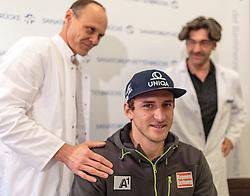 30.12.2015, Sanatorium Kettenbrücke, Innsbruck, AUT, OeSV Pressekonferenz, Matthias Mayer, im Bild v.l.: Dr. Michael Gabl, Matthias Mayer (AUT), Prof. Dr. Klaus Galiano // f.l.: Doctor Dr. Michael Gabl, Matthias Mayer of Austria and Prof. Dr. Klaus Galiano during a Pressconference of the Austrian Ski Alpine Athlete Matthias Mayer about his Health Status after his Crash in Groeden at the , Innsbruck, Austria on 2015/12/30. EXPA Pictures © 2015, PhotoCredit: EXPA/ JFK