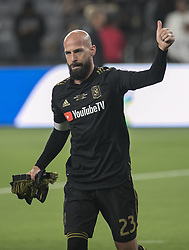 April 29, 2018 - Los Angeles, California, U.S - Laurent Ciman #23 of the LAFC who score the winning goal in their home opener,  salutes the fans after winning their MLS game against the Seattle Sounders on Sunday April 29, 2018, their first game at the Banc of California Stadium in Los Angeles, California. LAFC defeats Sounders, 1-0. (Credit Image: © Prensa Internacional via ZUMA Wire)