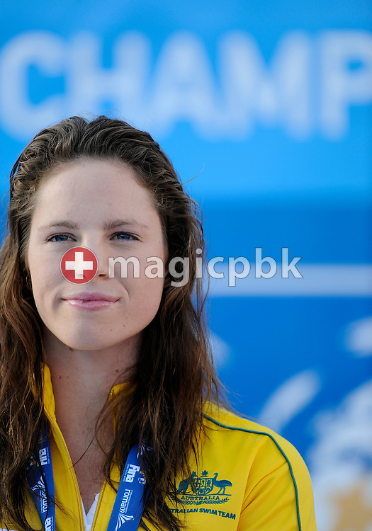 Third placed Emily SEEBOHM of Australia is pictured on the podium after competing in the women's 100m backstroke final at the 13th FINA World Championships at the Foro Italico complex in Rome, Italy, Tuesday, July 28, 2009. (Photo by Patrick B. Kraemer / MAGICPBK)