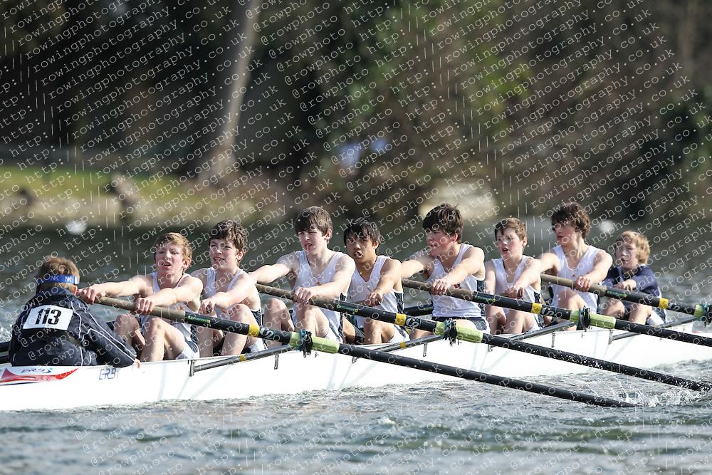 2012.02.25 Reading University Head 2012. The River Thames. Division 1. Royal Shrewsbury School Boat Club B J15A 8+