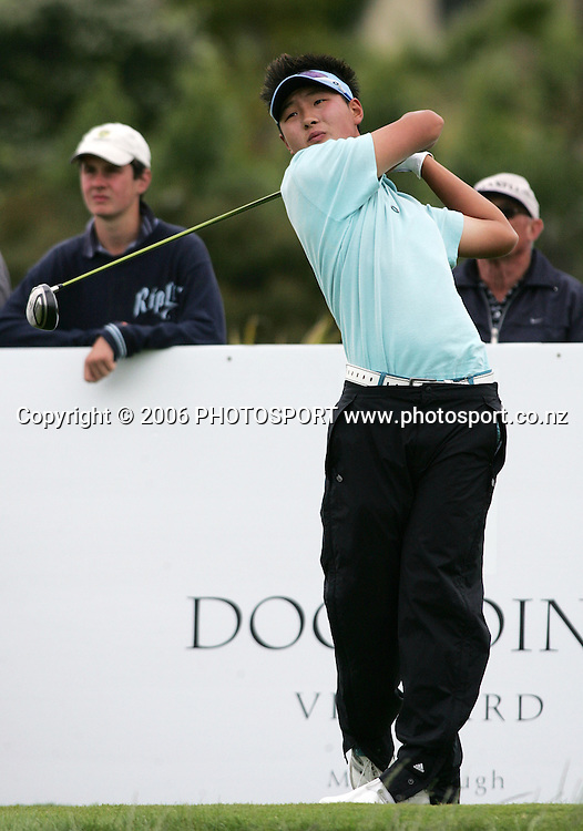New Zealand's Danny Lee tees off during Round 1 of the Blue Chip New Zealand Open held at Gulf Harbour, Whangaparoa, New Zealand on 30 November 2006. Photo: Tim Hales/PHOTOSPORT