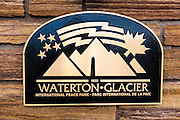 Waterton-Glacier International Peace Park sign, Glacier National Park, Montana USA