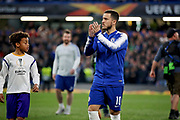Chelsea FC forward Eden Hazard (10) walking out and clapping the fans before the Europa League quarter-final, leg 2 of 2 match between Chelsea and Slavia Prague at Stamford Bridge, London, England on 18 April 2019.