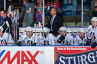 KELOWNA, CANADA - SEPTEMBER 24: Assistant Coach Dan Di Palma stands on the bench against the Kelowna Rockets on September 24, 2016 at Prospera Place in Kelowna, British Columbia, Canada.  (Photo by Marissa Baecker/Shoot the Breeze)  *** Local Caption *** Dan Di Palma;