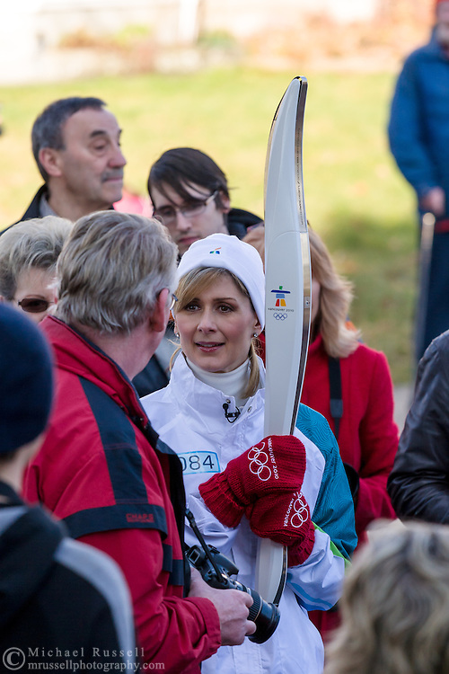 Coleen Christie before the lighting of her torch during the 2010 Olympic Winter Games Torch Relay.  Photographed in Langley (Aldergrove), British Columbia, Canada.