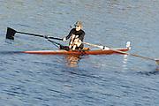 Boston, USA, Senior veteran Women's SingleLaurette RINDLAUB,  racing at the Head of the Charles, Race Charles River,  Cambridge,  Massachusetts. Saturday  21/10/2007 [Mandatory Credit Peter Spurrier/Intersport Images]..... , Rowing Course; Charles River. Boston. USA