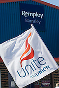 Unite flag on the Remploy Crusade for Disabled Workers Jobs 2007 Barnsley...© Martin Jenkinson, tel 0114 258 6808 mobile 07831 189363 email martin@pressphotos.co.uk. Copyright Designs & Patents Act 1988, moral rights asserted credit required. No part of this photo to be stored, reproduced, manipulated or transmitted to third parties by any means without prior written permission