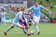MELBOURNE, VIC - MARCH 03: Melbourne City defender Scott Jamieson (3) defends the ball at the round 21 Hyundai A-League soccer match between Melbourne City FC and Perth Glory on March 03, 2019 at AAMI Park, VIC. (Photo by Speed Media/Icon Sportswire)