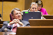 09 JANUARY 2012 - PHOENIX, AZ:   State  Sen Steve Yarbrough, Chandler, at the state legislature Monday. Gov Brewer delivered her State of the State inside while outside representatives of interest groups picketed and protested.    The Arizona legislature started its 2012 session and Gov. Jan Brewer delivered her State of the State Monday, Jan 9.                   PHOTO BY JACK KURTZ