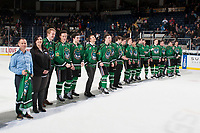 KELOWNA, CANADA - MARCH 18:  Bekins representatives stands on the ice at the end of the last regular season game against the Vancouver Giants on March 1, 2018 at Prospera Place in Kelowna, British Columbia, Canada.  (Photo by Marissa Baecker/Shoot the Breeze)  *** Local Caption ***
