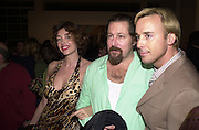 Olatz Schnabel,Julian Schnabel and David Furnish, Jeff Koons exhibition opening and dinner. Gagosian Gallery and Mr. Chow. Los Angeles. 22 March 2001. © Copyright Photograph by Dafydd Jones 66 Stockwell Park Rd. London SW9 0DA Tel 020 7733 0108 www.dafjones.com