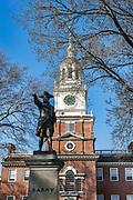 Independence Hall, Philadelphia and Barry statue, Pennsylvania, USA