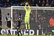 Chelsea goalkeeper Thibaut Courtois (13) jumps for the ball during the Premier League match between Leicester City and Chelsea at the King Power Stadium, Leicester, England on 14 January 2017. Photo by Jon Hobley.