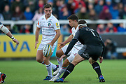 Leicester Tigers Scrum-half Ben Youngs (9) kicks the ball through during the Aviva Premiership match between Newcastle Falcons and Leicester Tigers at Kingston Park, Newcastle, United Kingdom on 29 October 2017. Photo by Simon Davies.