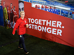 CARDIFF, WALES - Friday, November 24, 2017: Wales' Jessica Fishlock walks out to inspect the pitch before the FIFA Women's World Cup 2019 Qualifying Round Group 1 match between Wales and Kazakhstan at the Cardiff City Stadium. (Pic by David Rawcliffe/Propaganda)