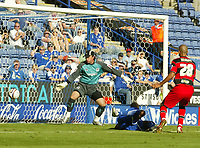 Photo: Aidan Ellis.<br /> Leicester City v Queens Park Rangers. Coca Cola Championship. 15/09/2007.<br /> Leicester's Carl Cort scores with a diving header but his effort was ruled offside