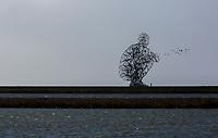 Exposure, zittende man, de Houtribsluizen bij het Markermeer. Landart gemaakt door Antony Gormley en onthuld in 2010.