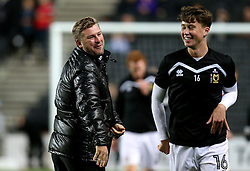 Milton Keynes Dons manager Karl Robinson shares a joke with Jack Hendry of Milton Keynes Dons - Mandatory by-line: Robbie Stephenson/JMP - 18/10/2016 - FOOTBALL - Stadium MK - Milton Keynes, England - Milton Keynes Dons v Bristol Rovers - Sky Bet League One