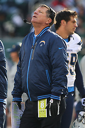 Dec 23, 2012; East Rutherford, NJ, USA; San Diego Chargers head coach Norv Turner reacts to a call during the second half at MetLIfe Stadium.