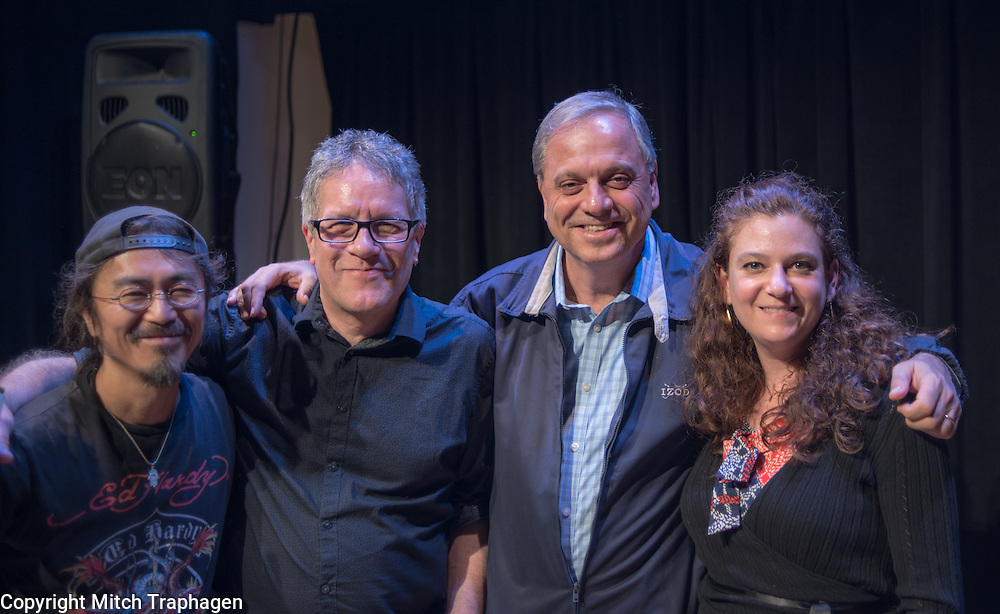 Artists Without Walls October 2016 Showcase at the Cell Theatre in Manhattan featuring Erin Layton, Gary Ryan, Kate McLeod, Jack O'Connell, Gregory Harrington, Ian and Liza Roure, Renata Hinrichs and Terry McCarthy with AWoW co-founders Charles Hale and Niamh Hyland. October 27, 2016.