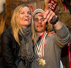 18.02.2011, Tirol Berg, Garmisch Partenkirchen, GER, FIS Alpin Ski WM 2011, GAP, Sölden Abend, im Bild bronze Medaille Philipp Schoerghofer (AUT) mit Freundin Nina // bronze Medal Philipp Schoerghofer (AUT)  during Soelden Evening Fis Alpine Ski World Championships in Garmisch Partenkirchen, Germany on 18/2/2011. EXPA Pictures © 2011, PhotoCredit: EXPA/ J. Groder