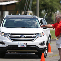 Michael Street of Street Defensive Driving guides a student through one of the courses Saturday