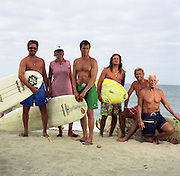 San Onofre, California: Dr. Dorian ?Doc? Paskowitz with sons Dave,  Salvado (shades), Izzy, Jonathan,  wife Juliette  ad Abraham Paskowitz, on the beach at their surf camp in San Onofre near Oceanside, California, 2/8/2000.