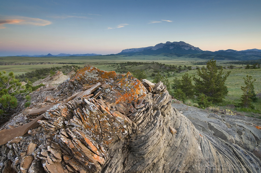 Sandstone rock formations, Rocky Mountain Front Range near Choteau Montana