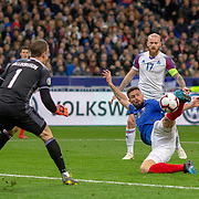 PARIS, FRANCE - March 25:  Olivier Giroud #9 of France has a goal disallowed for offside as he shoots past goalkeeper Hannes Por Halldorsson #1 of Iceland during the France V Iceland, 2020 European Championship Qualifying, Group Stage at  Stade de France on March 25th 2019 in Paris, France (Photo by Tim Clayton/Corbis via Getty Images)