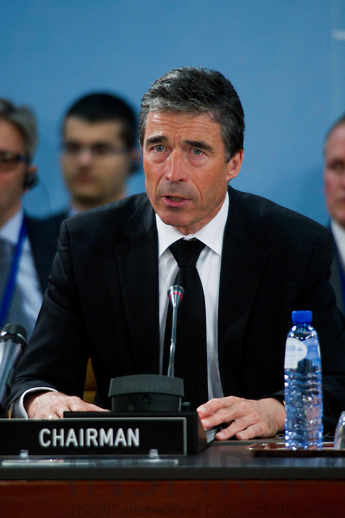 BRUSSELS - BELGIUM - 12 APRIL 2010 -- NATO Secretary-General Anders Fogh Rasmussen speaks before a minute of silence in memory of the Polish plane crash in Russia, where the Polish President Lech Kaczynski's and much of the country's political and military elite perished, during a North Atlantic Council meeting in Brussels April 12, 2010. Photo: Erik Luntang/INSPIRIT Photo..