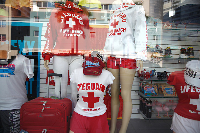 4/1/13---Miami Beach, Florida---Photo by Angel Valentin<br /> Store window along Collins Avenue in Miami Beach.