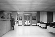 17/08/1967<br /> 08/17/1967<br /> 17 August 1967<br /> Interiors of the First National City Bank, St. Stephen's Green, Dublin. View of door and counter. Note lack of protective screen at the counter.