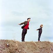 ANCHORAGE, AK - APRIL 2012: Musician Jonathan J. Bower with his son Sam Bower.