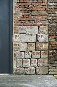 Stones on a reconstructed wall. Lille, France, 2002