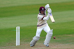 Somerset's Tom Abell drives the ball. - Photo mandatory by-line: Harry Trump/JMP - Mobile: 07966 386802 - 06/07/15 - SPORT - CRICKET - LVCC - County Championship Division One - Somerset v Sussex- Day Two - The County Ground, Taunton, England.
