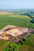 The new Field of Dreams ball field under construction near Dyersville, Iowa, USA, in anticipation of a major league baseball game in August 13, 2020 between the Chicago White Sox and the New York Yankees.