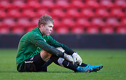 LIVERPOOL, ENGLAND - Saturday, January 8, 2011: Crystal Palace's goalkeeper Charlie Mann looks dejected as his side lose 3-1 to Liverpool during the FA Youth Cup 4th Round match at Anfield. (Pic by: David Rawcliffe/Propaganda)