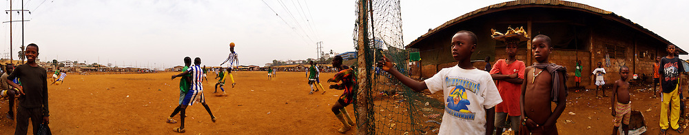 The Young Stars of Kroo Bay versus Kroo Bay Town during a friendly match, Kroo Bay, Freetown, Sierra Leone.