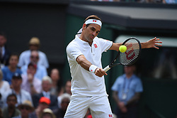 Roger Federer (SUI) during the men final at the 2019 Wimbledon Championships at the AELTC in London, UK, on July 14, 2019. Photo by Corinne Dubreuil/ABACAPRESS.COM