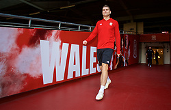 CARDIFF, WALES - Wednesday, October 10, 2018: Wales' Sam Vokes during a training session at the Principality Stadium ahead of the International Friendly match between Wales and Spain. (Pic by David Rawcliffe/Propaganda)