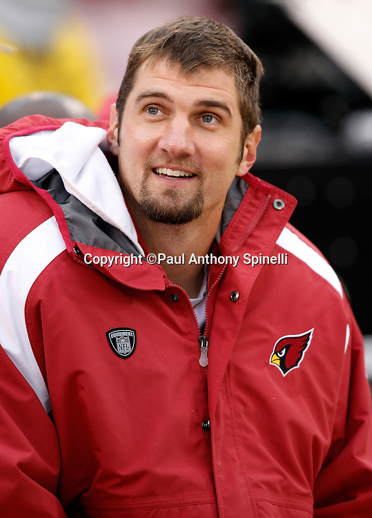 Arizona Cardinals quarterback Derek Anderson (3) smiles while wearing a team jacket in the bench area during the NFL week 17 football game against the San Francisco 49ers on Sunday, January 2, 2011 in San Francisco, California. The 49ers won the game 38-7. (©Paul Anthony Spinelli)