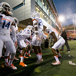 Boise State Broncos prepare to enter the field before the game against Utah State. Utah State defeated Boise State 52-26 at Maverik Stadium  in Logan, Utah.  Friday October 16, 2015