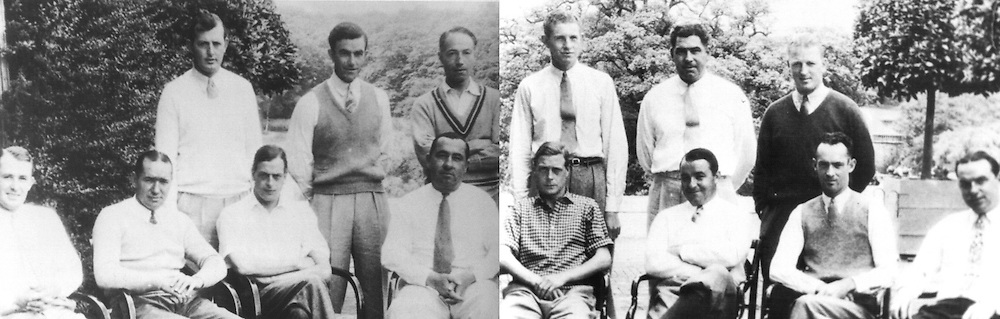 1933 USA Ryder Cup Matches team is made up of 2 pictures which are fixed together. The team and royals are: (Standing L-R)  Ed Dudley, Johnny Farrell, Sir Phillip Sassoon, Horton Smith, Olin Dutra and Craig Wood (rear). <br />(Seated L-R) Paul Runyan, Leo Diegal, the Duke of Kent, Walter Hagen, the Prince of Wales, Gene Sarazen, Densmore Shute and Billy Burke.<br />Picture Credit: &copy;Visions In Golf / Hobbs Golf Collection