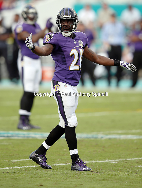 Baltimore Ravens cornerback Lardarius Webb (21) points as he calls out during the 2015 week 13 regular season NFL football game against the Miami Dolphins on Sunday, Dec. 6, 2015 in Miami Gardens, Fla. The Dolphins won the game 15-13. (©Paul Anthony Spinelli)